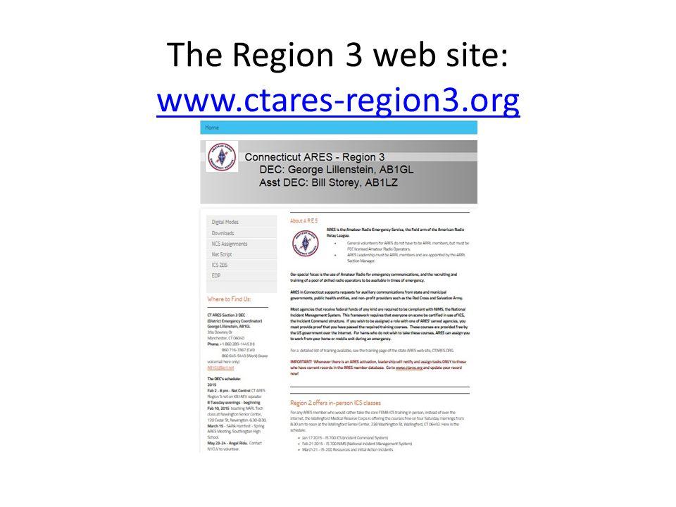 The Region 3 web site: www.ctares-region3.org www.ctares-region3.org