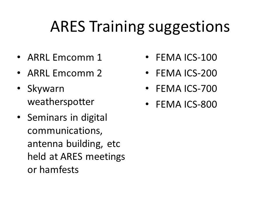 ARES Training suggestions ARRL Emcomm 1 ARRL Emcomm 2 Skywarn weatherspotter Seminars in digital communications, antenna building, etc held at ARES me