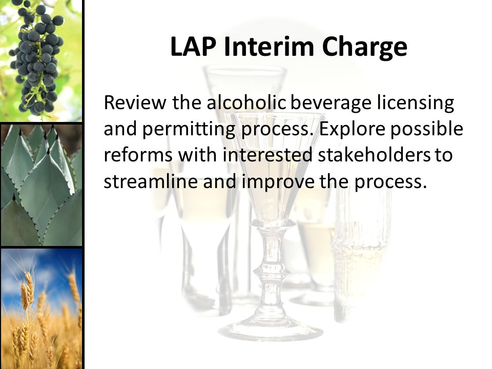 LAP Interim Charge Review the alcoholic beverage licensing and permitting process.