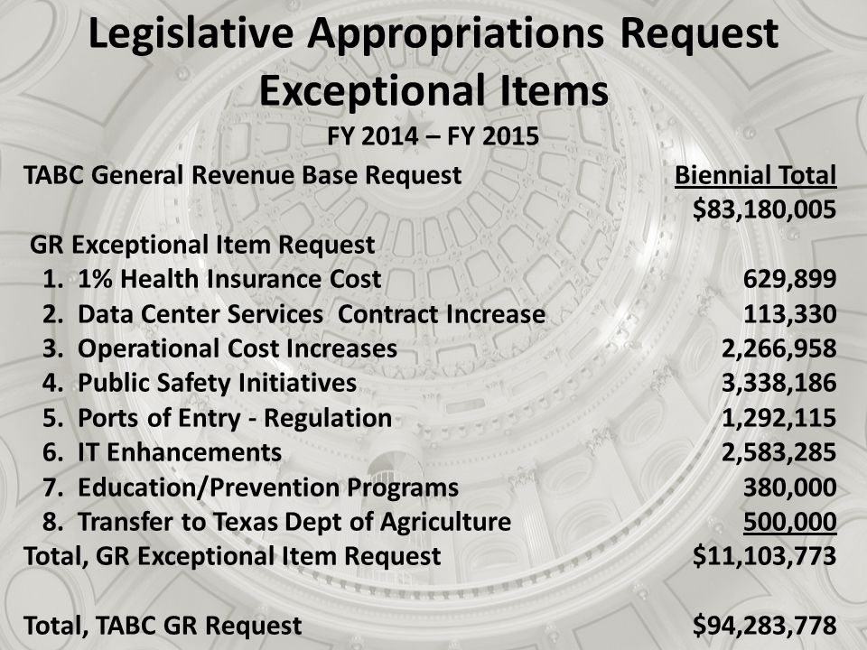 Legislative Appropriations Request Exceptional Items FY 2014 – FY 2015 TABC General Revenue Base Request GR Exceptional Item Request 1.