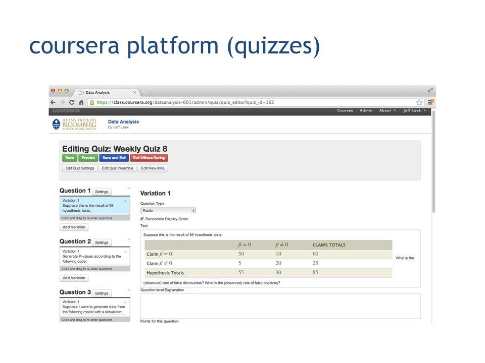 coursera platform (quizzes)