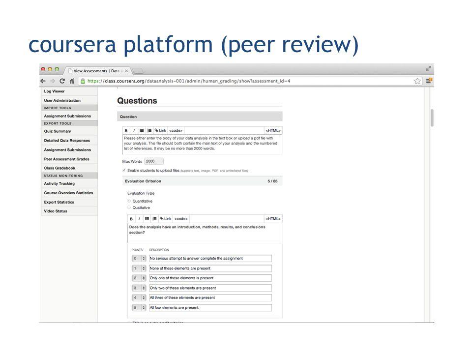 coursera platform (peer review)