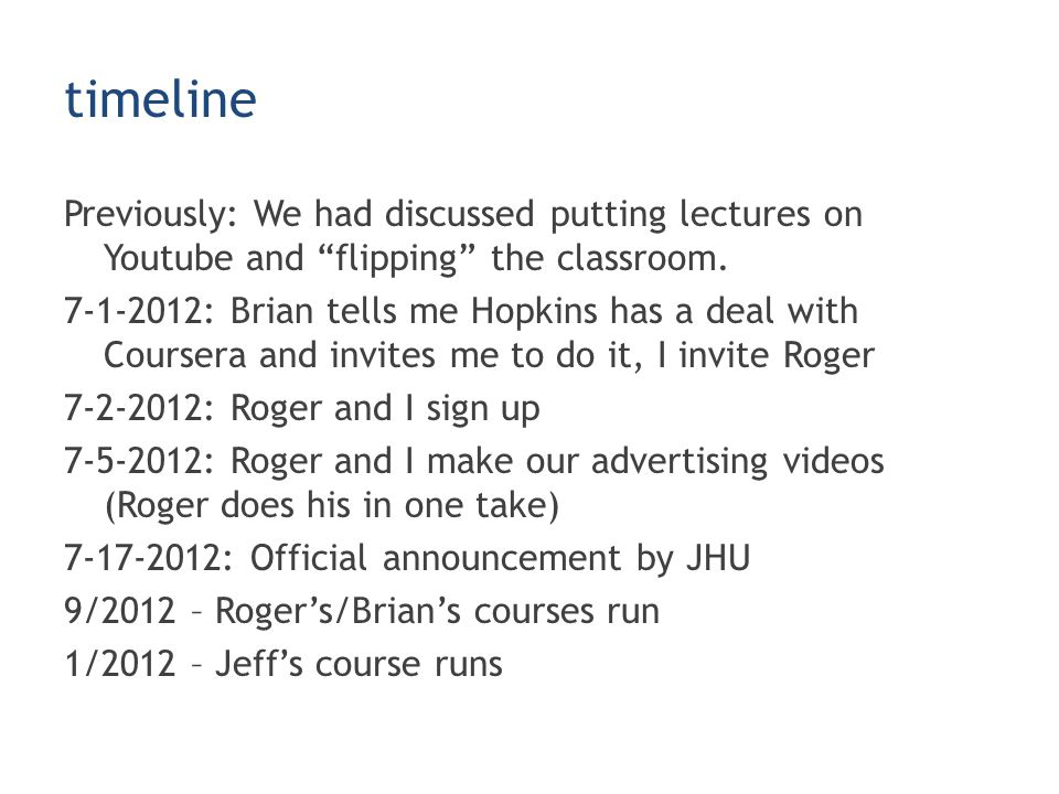 timeline Previously: We had discussed putting lectures on Youtube and flipping the classroom.