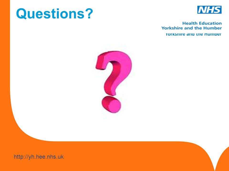 www.hee.nhs.uk http://yh.hee.nhs.uk Questions?