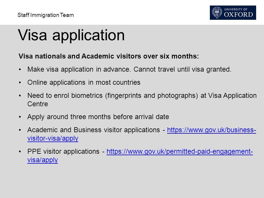 Staff Immigration Team Visa application Visa nationals and Academic visitors over six months: Make visa application in advance.