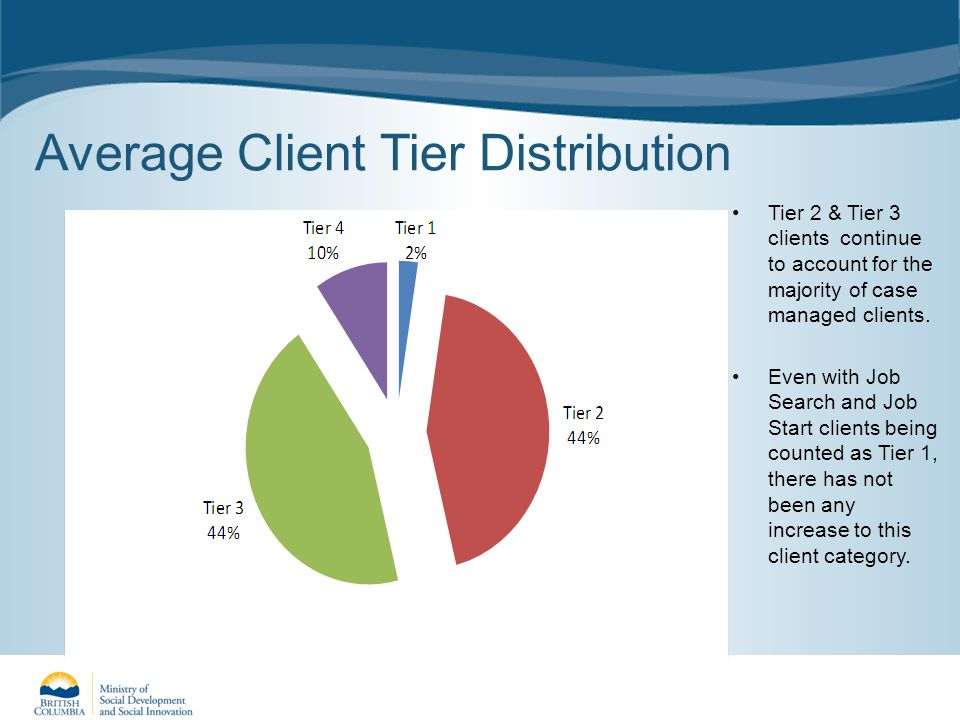 Average Client Tier Distribution Tier 2 & Tier 3 clients continue to account for the majority of case managed clients.