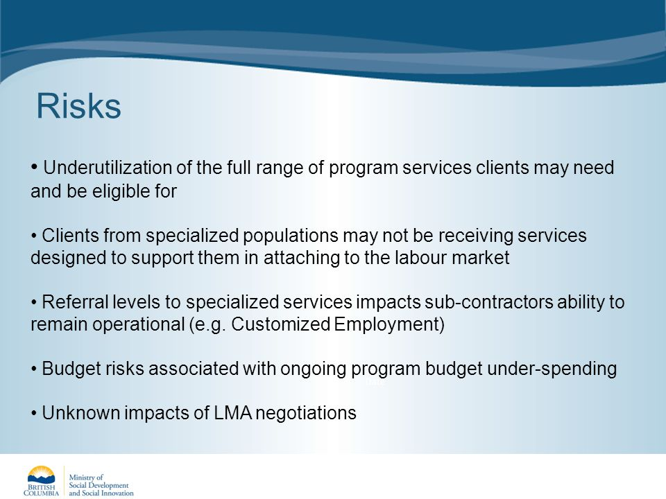 Risks Year to Date Underutilization of the full range of program services clients may need and be eligible for Clients from specialized populations may not be receiving services designed to support them in attaching to the labour market Referral levels to specialized services impacts sub-contractors ability to remain operational (e.g.