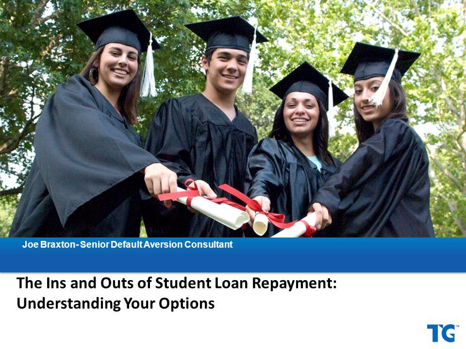 Helpful resources – www.nslds.ed.gov: view your student loan portfolio – www.loanconsolidation.ed.gov: apply for a Consolidation loan – https://studentloans.gov/myDirectLoan/repaymentEstimatorLog inRedirect.action: repayment estimator – http://studentaid.ed.gov/PORTALSWebApp/students/english/PS F.jsp#: Public Service Loan Forgiveness FAQs – https://myeddebt.com: ED's Debt Resolution Group – https://www.tgslc.org/borrwers/default/: TG's Handling Default page Resources