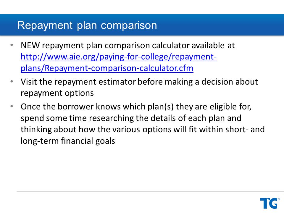 Repayment plans overview Standard – 120 equal monthly payments/10 years – Least expensive way to repay a student loan Graduated – Payments increase over time – Maximum 10-year repayment term