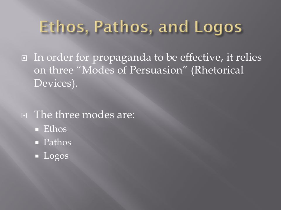  In order for propaganda to be effective, it relies on three Modes of Persuasion (Rhetorical Devices).