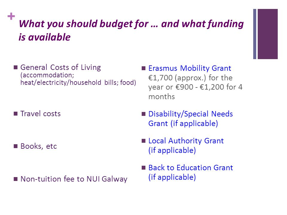 + What you should budget for … and what funding is available General Costs of Living (accommodation; heat/electricity/household bills; food) Travel costs Books, etc Non-tuition fee to NUI Galway Erasmus Mobility Grant €1,700 (approx.) for the year or €900 - €1,200 for 4 months Disability/Special Needs Grant (if applicable) Local Authority Grant (if applicable) Back to Education Grant (if applicable)