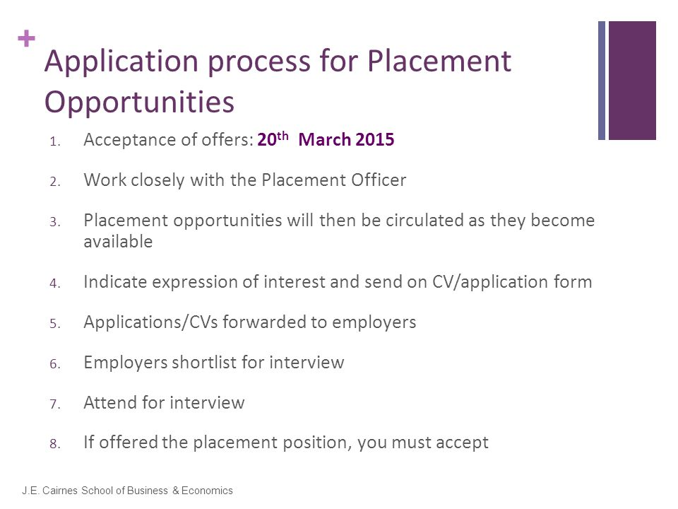 + Application process for Placement Opportunities 1.