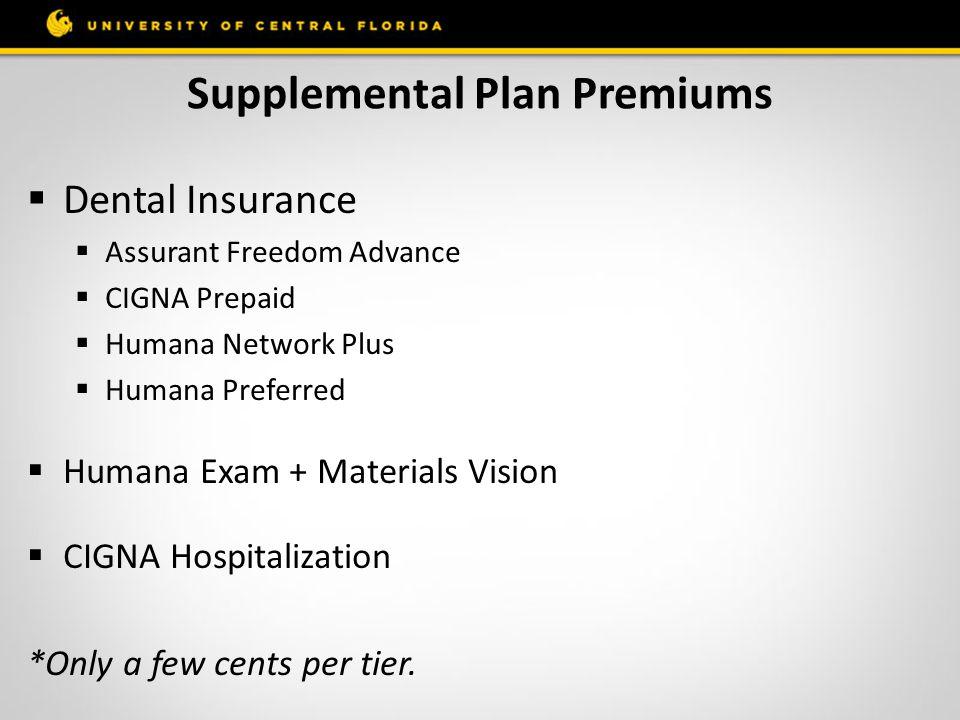 Supplemental Plan Premiums  Dental Insurance  Assurant Freedom Advance  CIGNA Prepaid  Humana Network Plus  Humana Preferred  Humana Exam + Mate