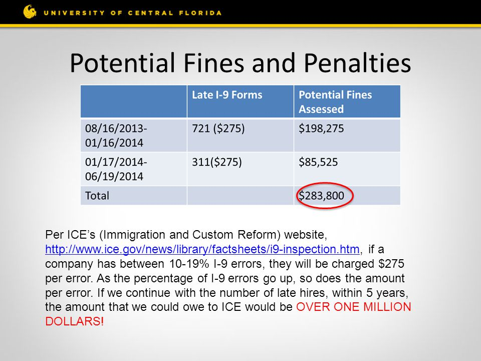 Potential Fines and Penalties Per ICE's (Immigration and Custom Reform) website, http://www.ice.gov/news/library/factsheets/i9-inspection.htm, if a co