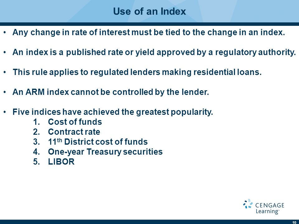 11 Use of an Index 1.Cost of funds.