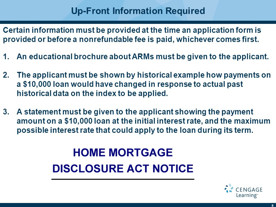 9 Subsequent Disclosure Requirements Notices must be given showing any adjusted payment amount, interest rate applied, index rate, and the loan balance at the time of adjustment.
