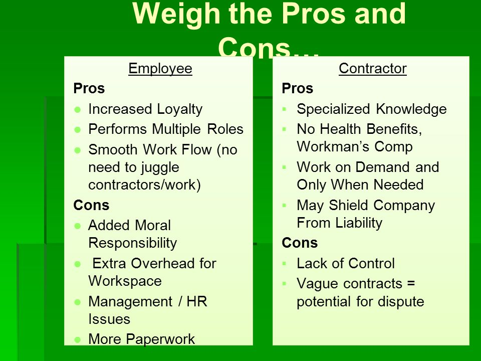 Weigh the Pros and Cons… Employee Pros ●Increased Loyalty ●Performs Multiple Roles ●Smooth Work Flow (no need to juggle contractors/work) Cons ●Added Moral Responsibility ● Extra Overhead for Workspace ●Management / HR Issues ●More Paperwork Contractor Pros ▪Specialized Knowledge ▪No Health Benefits, Workman's Comp ▪Work on Demand and Only When Needed ▪May Shield Company From Liability Cons ▪Lack of Control ▪Vague contracts = potential for dispute