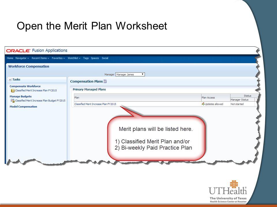 Open the Merit Plan Worksheet