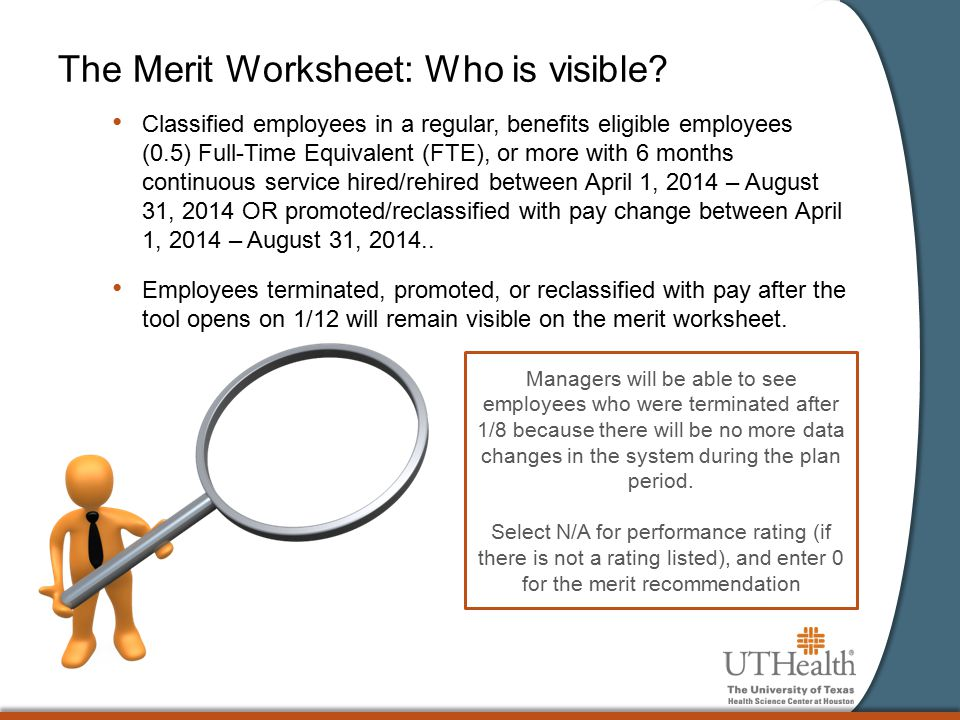 The Merit Worksheet: Who is visible.