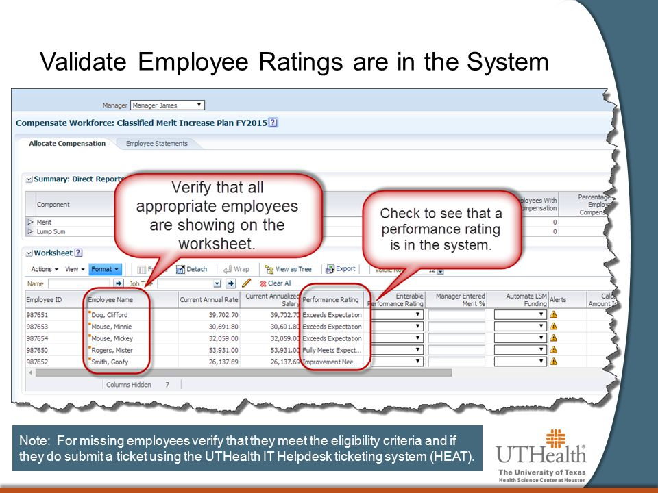 Validate Employee Ratings are in the System Note: For missing employees verify that they meet the eligibility criteria and if they do submit a ticket