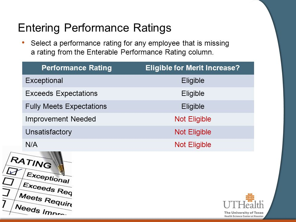 Entering Performance Ratings Select a performance rating for any employee that is missing a rating from the Enterable Performance Rating column. Perfo