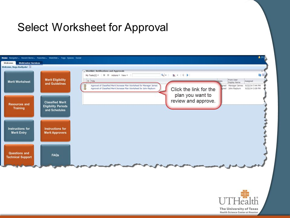 Select Worksheet for Approval