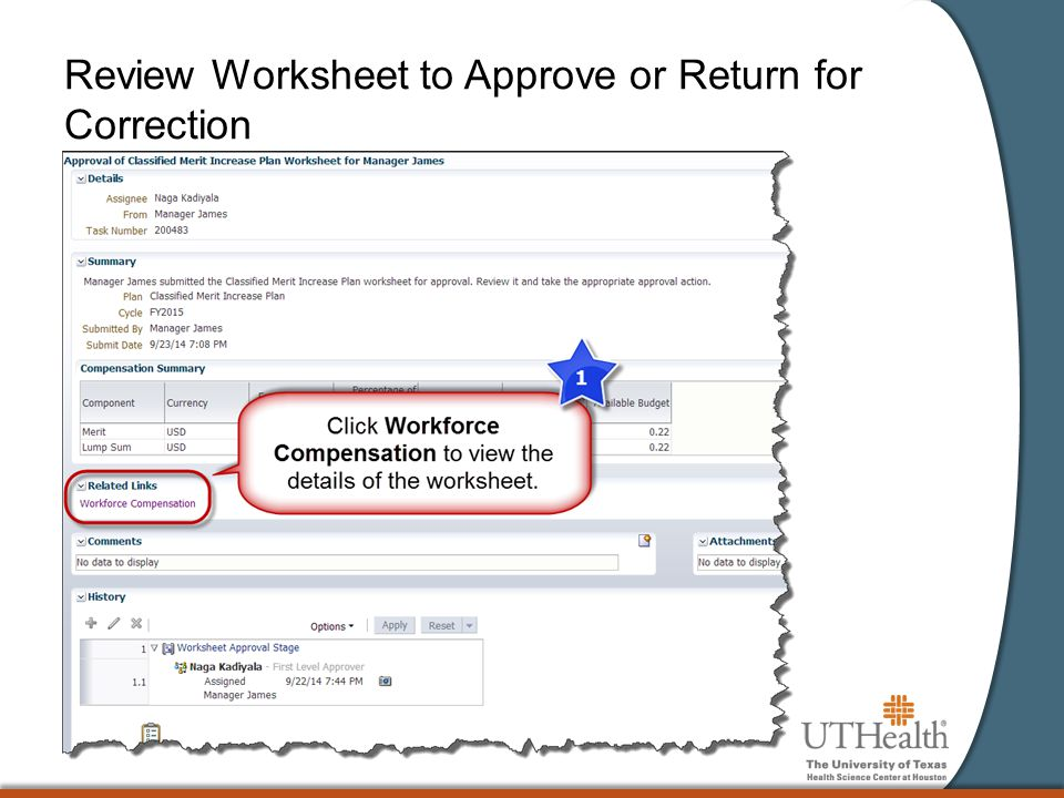 Review Worksheet to Approve or Return for Correction