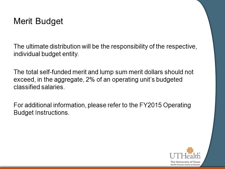 Merit Budget The ultimate distribution will be the responsibility of the respective, individual budget entity. The total self-funded merit and lump su