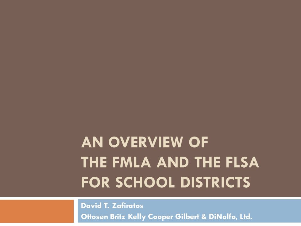 AN OVERVIEW OF THE FMLA AND THE FLSA FOR SCHOOL DISTRICTS David T.