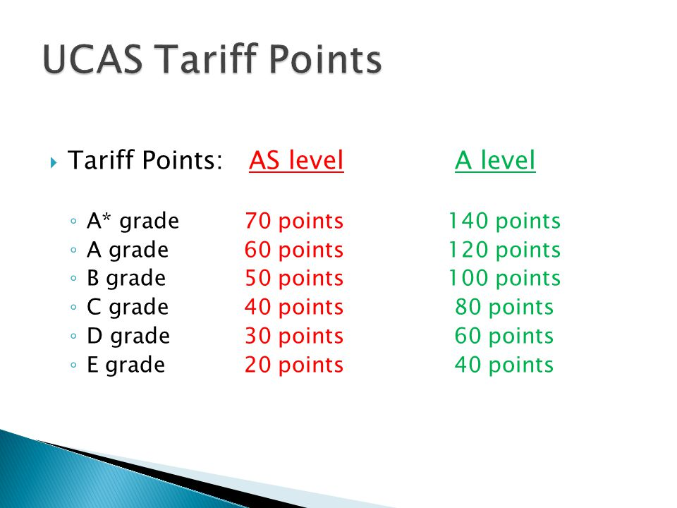  Tariff Points: AS level A level ◦ A* grade70 points140 points ◦ A grade60 points120 points ◦ B grade50 points100 points ◦ C grade40 points 80 points