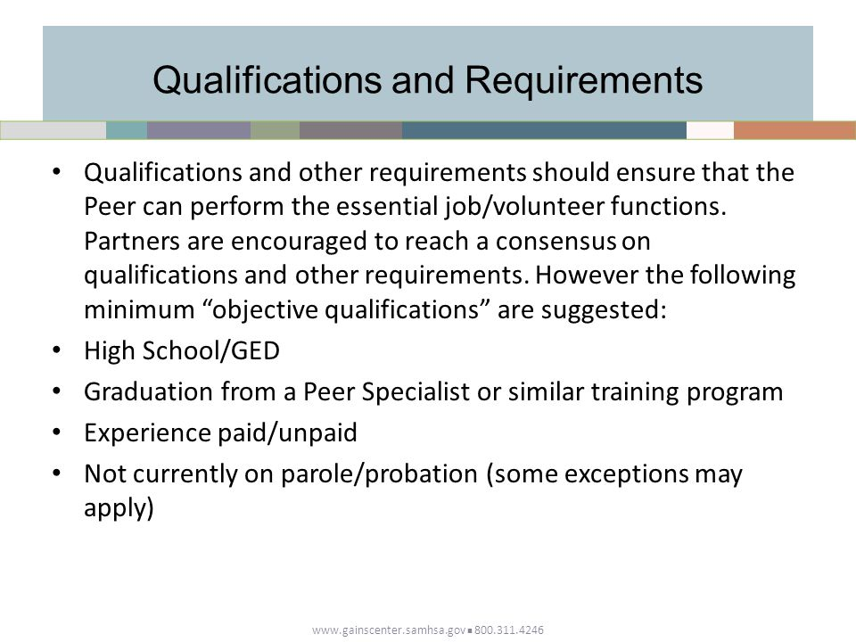 Qualifications and Requirements Qualifications and other requirements should ensure that the Peer can perform the essential job/volunteer functions.