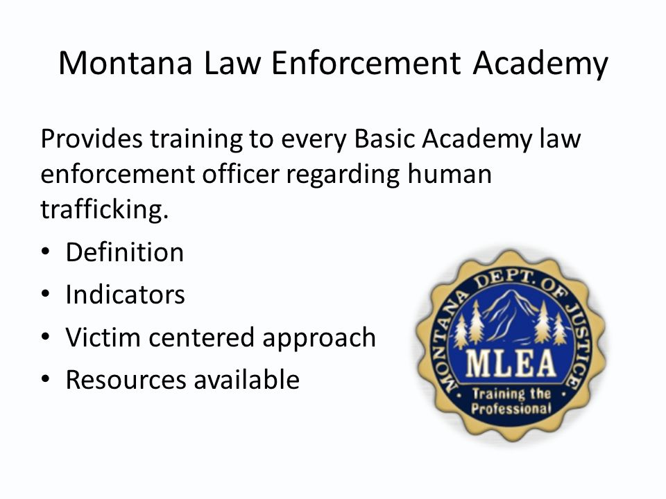 Montana Law Enforcement Academy Provides training to every Basic Academy law enforcement officer regarding human trafficking.