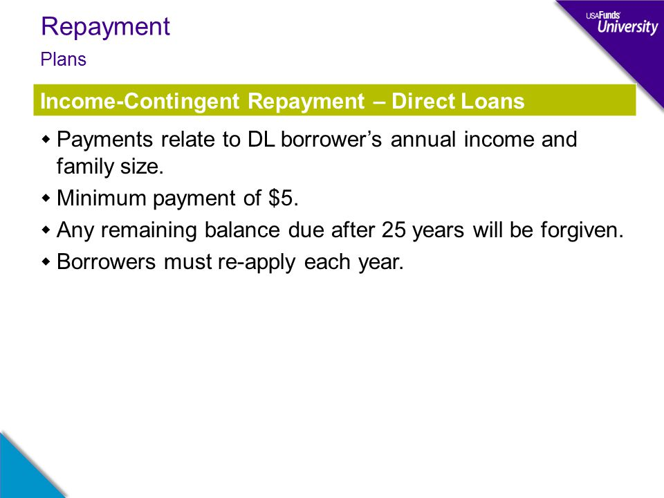 Repayment  Payments relate to DL borrower's annual income and family size.
