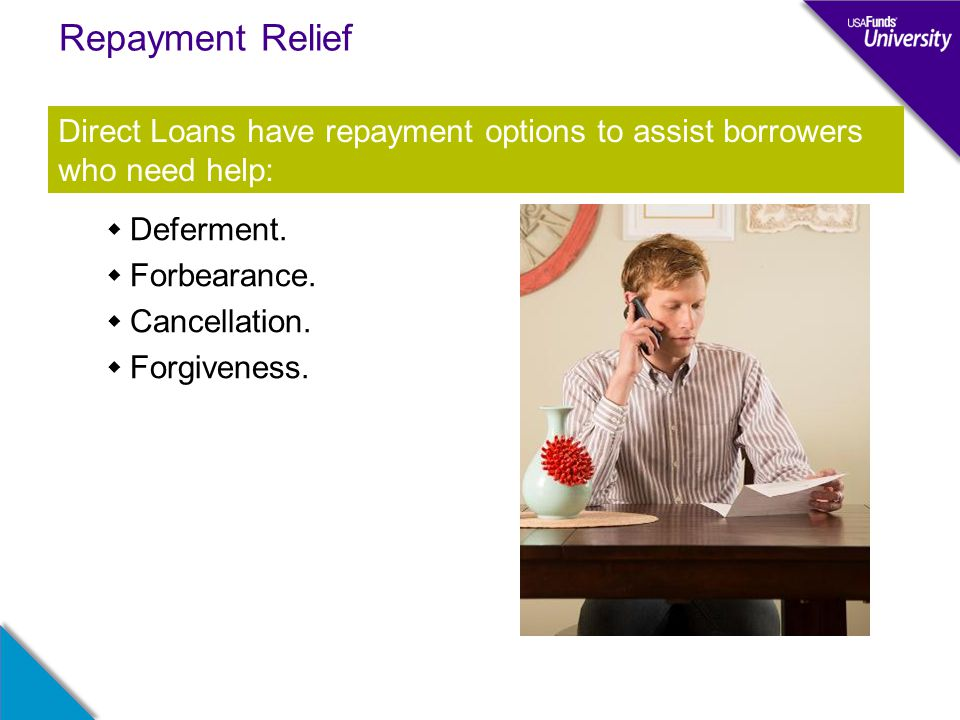 Repayment Relief  Deferment.  Forbearance.  Cancellation.