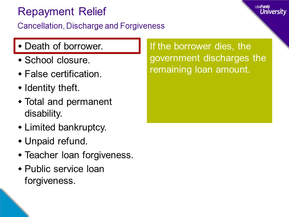 Repayment Relief Cancellation, Discharge and Forgiveness  Death of borrower.