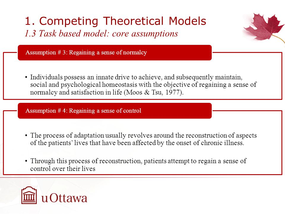 1. Competing Theoretical Models 1.3 Task based model: core assumptions Individuals possess an innate drive to achieve, and subsequently maintain, soci