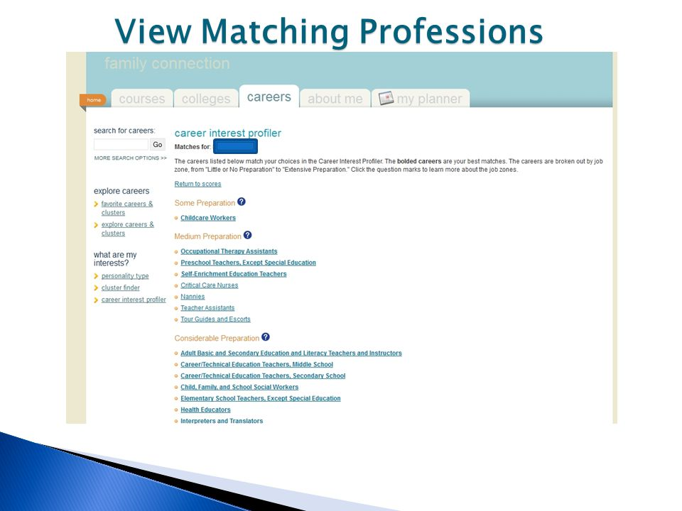 View Matching Professions