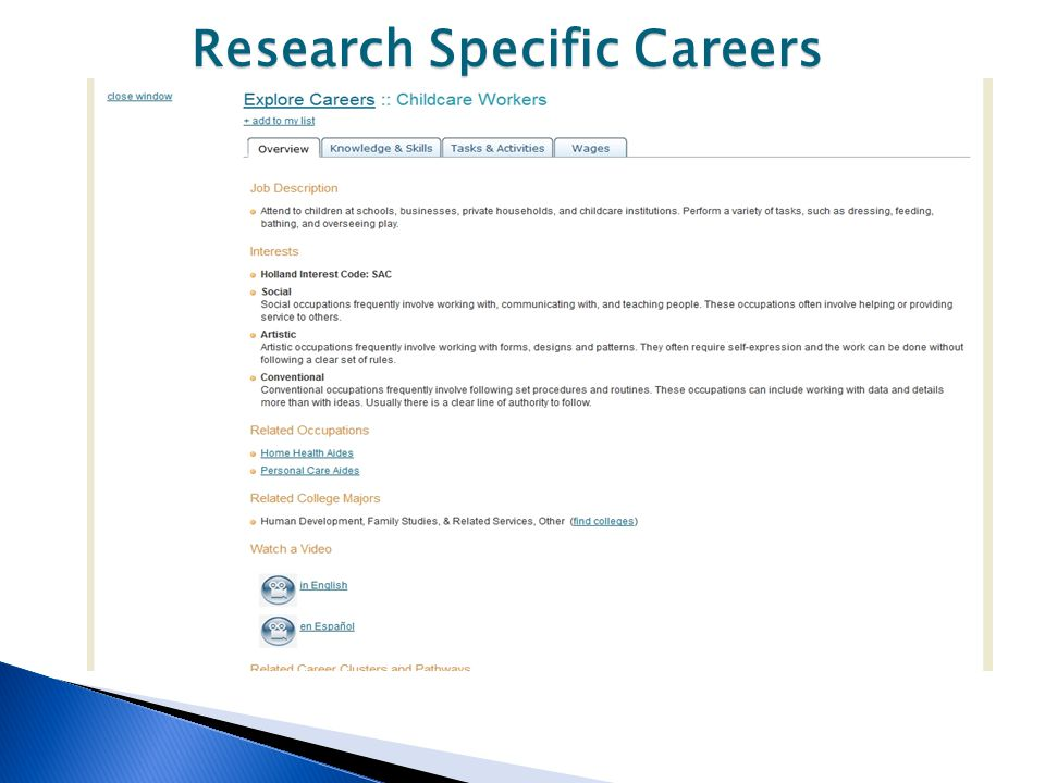 Research Specific Careers