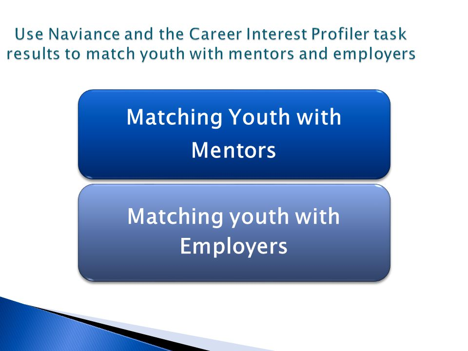 Use Naviance and the Career Interest Profiler task results to match youth with mentors and employers Use Naviance and the Career Interest Profiler tas