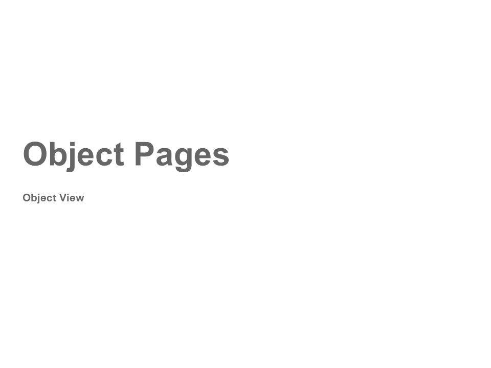 Object Pages Object View