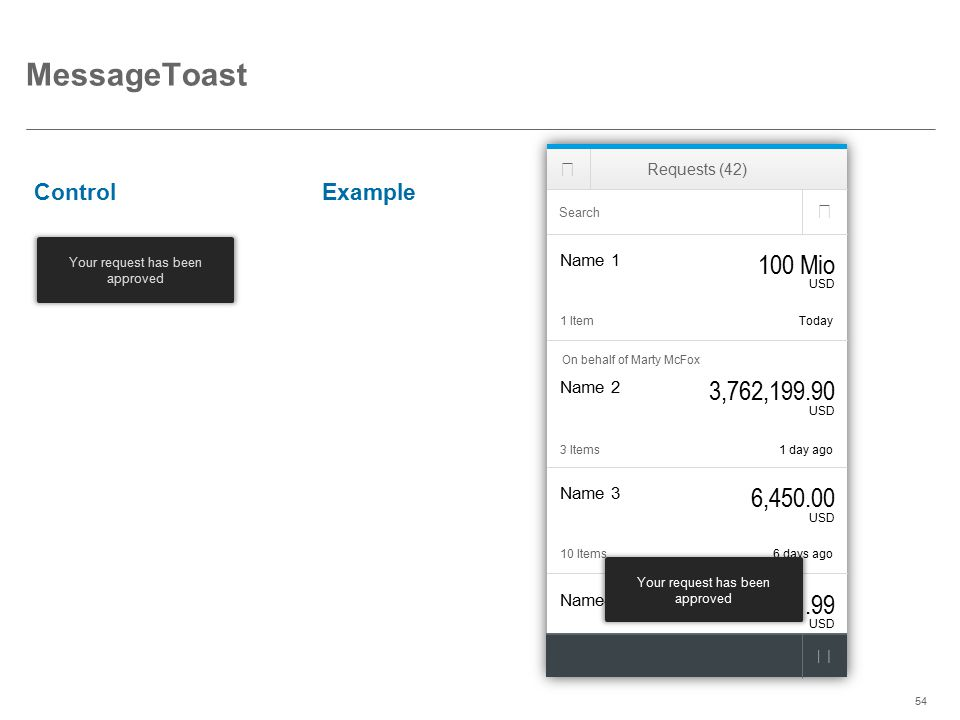 ©2014 SAP AG or an SAP affiliate company. All rights reserved.54 MessageToast ControlExample Your request has been approved Name4 1.99 USD Last week10