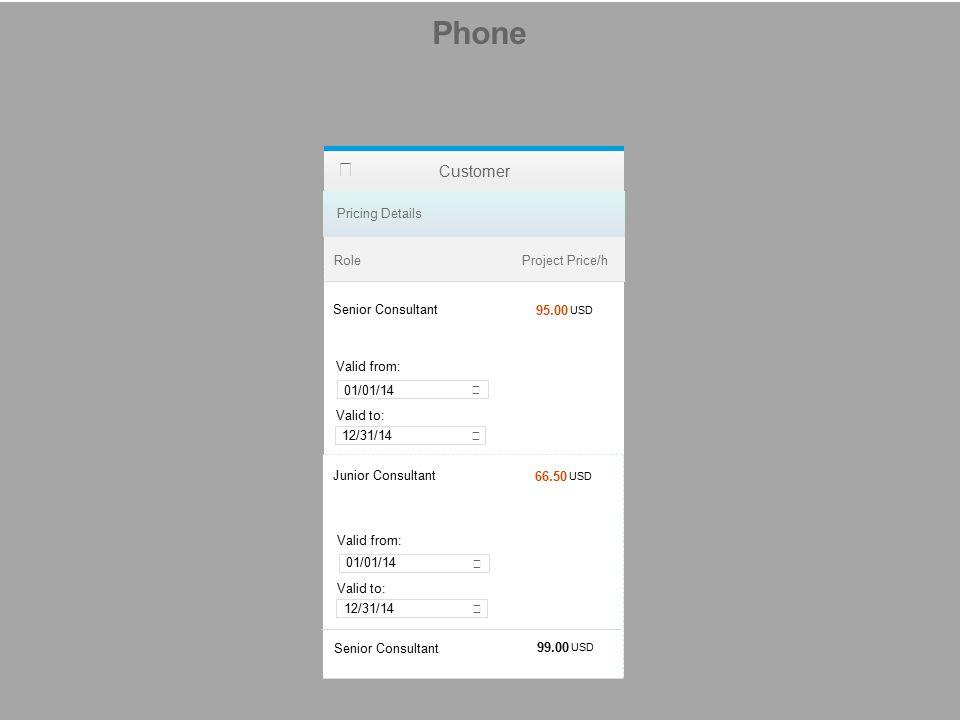 Phone Customer Role Pricing Details Project Price/h 95.00 USD 01/01/14 12/31/14 66.50 USD 99.00 USD Senior Consultant Junior Consultant Senior Consult