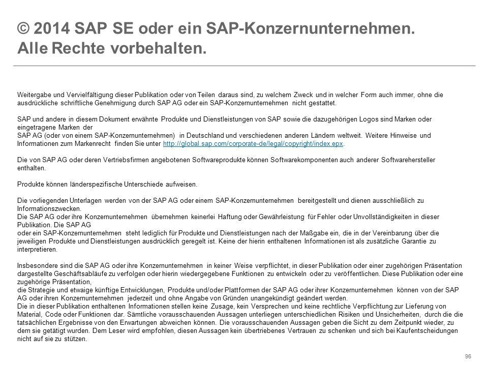 ©2014 SAP AG or an SAP affiliate company. All rights reserved.96 © 2014 SAP SE oder ein SAP-Konzernunternehmen. Alle Rechte vorbehalten. Weitergabe un