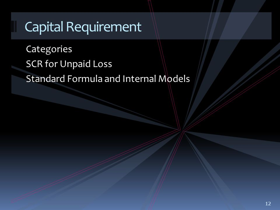 Categories SCR for Unpaid Loss Standard Formula and Internal Models 12 Capital Requirement