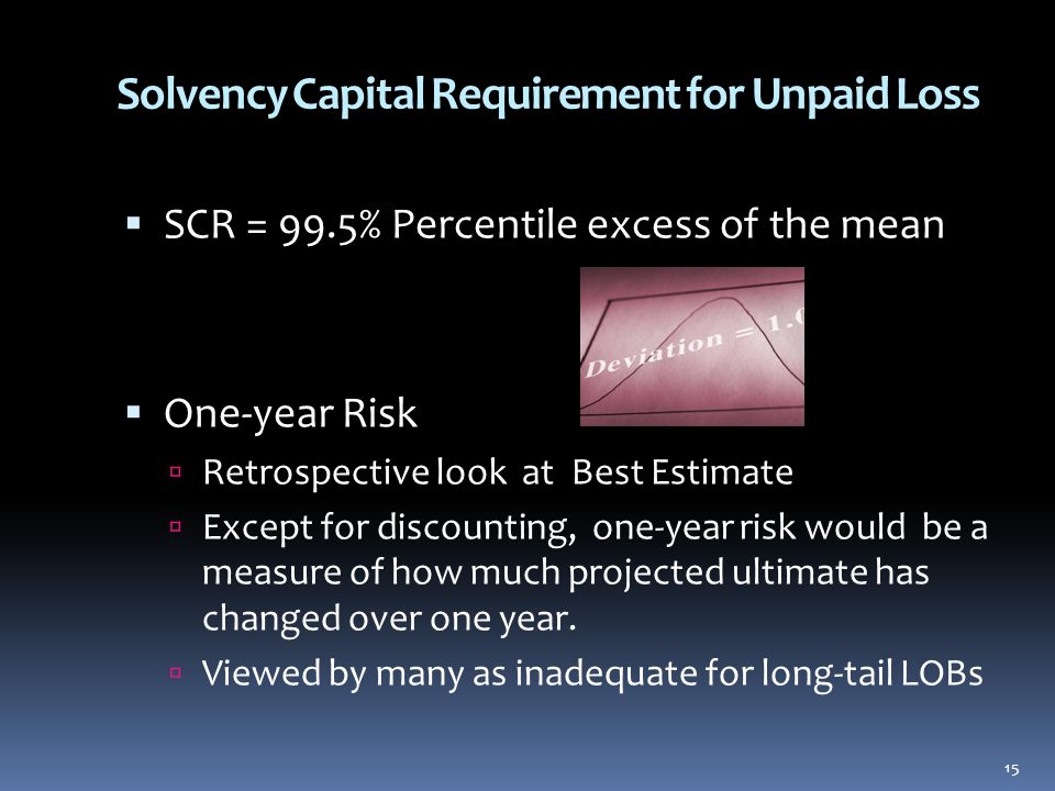 Solvency Capital Requirement for Unpaid Loss  SCR = 99.5% Percentile excess of the mean  One-year Risk  Retrospective look at Best Estimate  Except for discounting, one-year risk would be a measure of how much projected ultimate has changed over one year.
