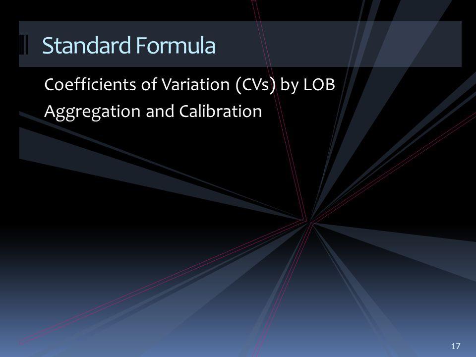 Coefficients of Variation (CVs) by LOB Aggregation and Calibration 17 Standard Formula