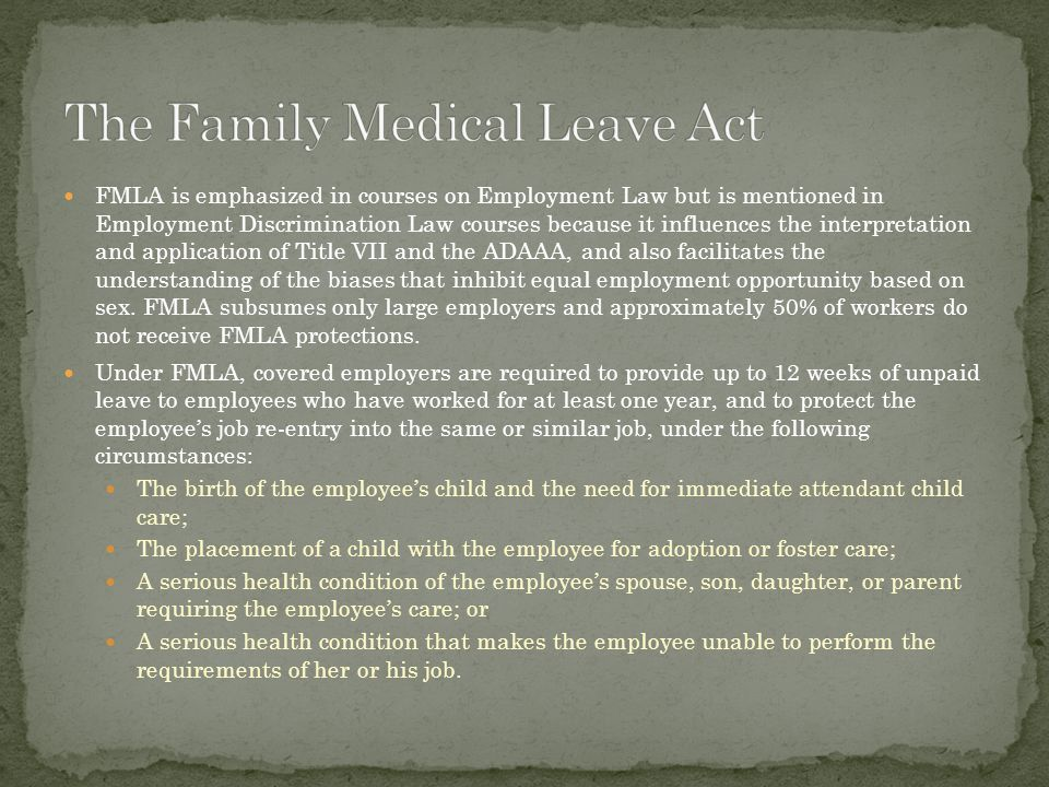 FMLA is emphasized in courses on Employment Law but is mentioned in Employment Discrimination Law courses because it influences the interpretation and