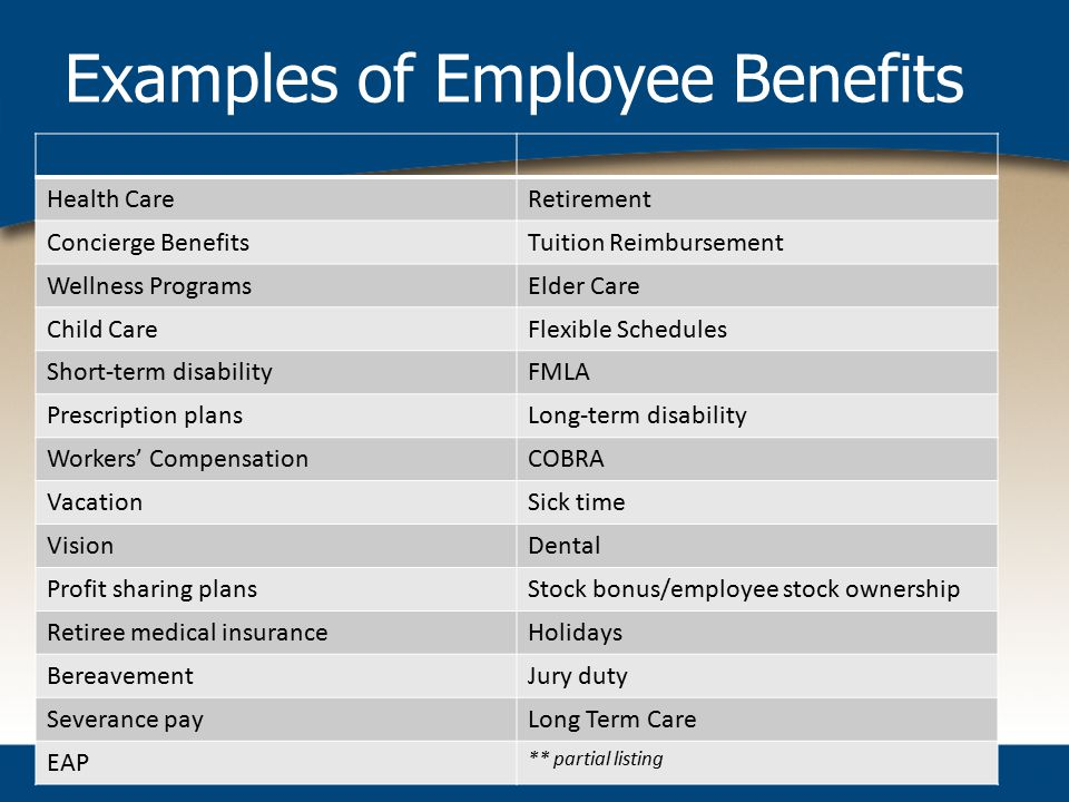 Examples of Employee Benefits Health CareRetirement Concierge BenefitsTuition Reimbursement Wellness ProgramsElder Care Child CareFlexible Schedules Short-term disabilityFMLA Prescription plansLong-term disability Workers' CompensationCOBRA VacationSick time VisionDental Profit sharing plansStock bonus/employee stock ownership Retiree medical insuranceHolidays BereavementJury duty Severance payLong Term Care EAP ** partial listing