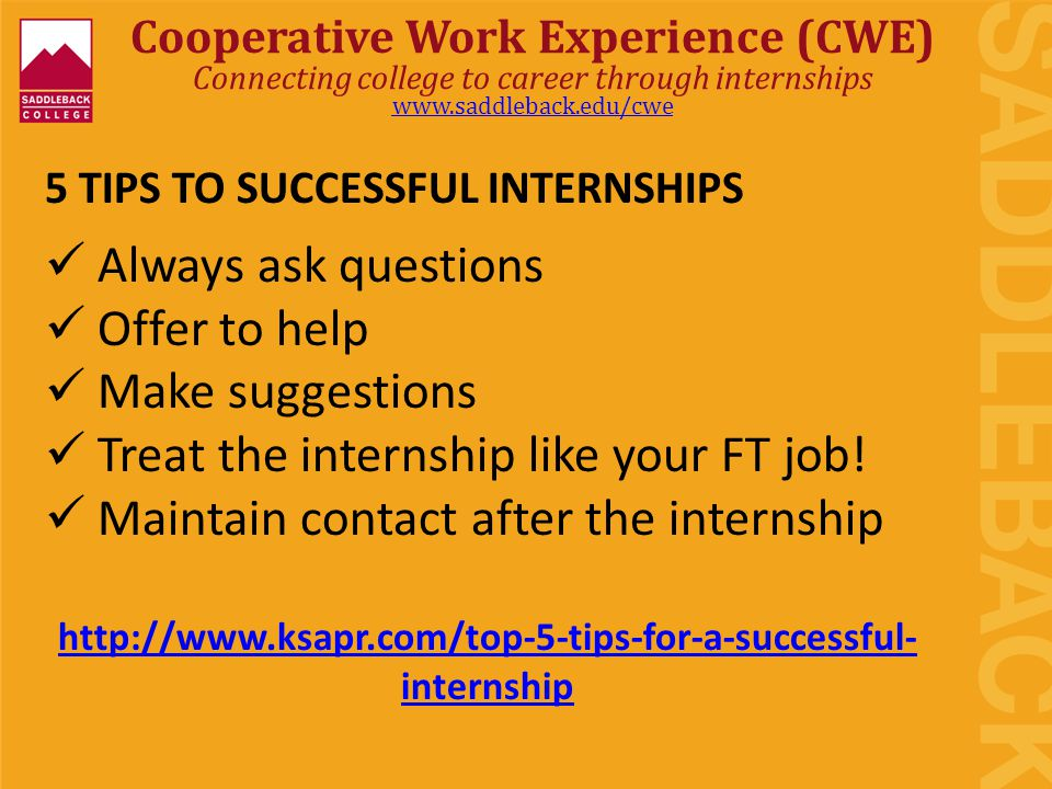 5 TIPS TO SUCCESSFUL INTERNSHIPS Always ask questions Offer to help Make suggestions Treat the internship like your FT job.