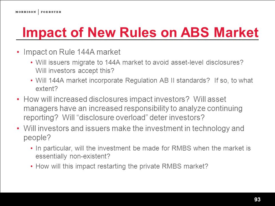 93 Impact of New Rules on ABS Market Impact on Rule 144A market Will issuers migrate to 144A market to avoid asset-level disclosures.